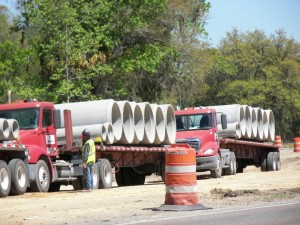 Drainage pipe ready for unloading - March 2017