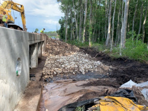 Rubble rip rap is installed for erosion protection at a new box culvert. (June 2020 photo)