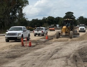 Roadway work along Sam Allen Road (November 2019 photo)