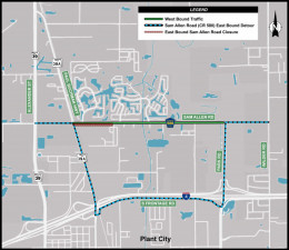 Detour Map for Closure of eastbound Sam Allen Road at Paul Buchman Highway
