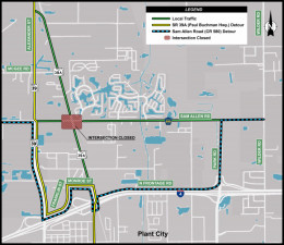 Detour Map for Closure of Sam Allen Road and Paul Buchman Highway