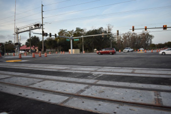 The Sam Allen Road / Paul Buchman Highway intersection on the morning of January 17, 2020 after reopening to traffic the night before.