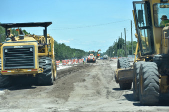 Essential widening work continues on Sam Allen Road in this 4/28/2020 photo.