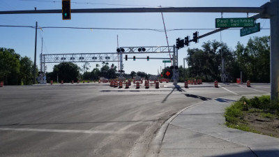 Eastbound Sam Allen Road closed 4/27/20 at Paul Buchman Highway, as essential roadwork continues. (4/27/20 photo)