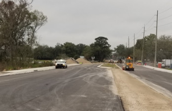 The widened Sam Allen Road corridor is starting to take shape in this January 2020 photo