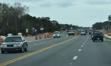 Traffic is shifted to the west side of US 19 near the south end of the project (2/19/20 photo)