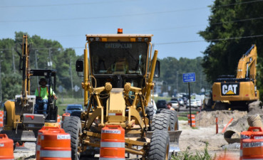 Construction work on the west side of US 19 near Green Acres Street on August 4, 2020.