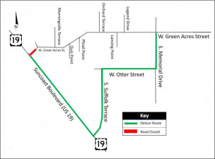 Detour map for closure of Green Acres St. at US 19