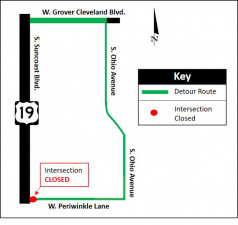 Detour map for closure of Periwinkle Lane at the intersection on the east side of US 19
