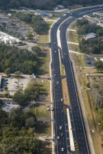 Looking north on US 19 with traffic in final configuration approaching Yulee Dr. (upper right corner) (2/9/2021 photo)