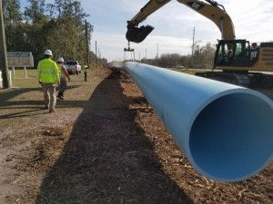 New water line pipes