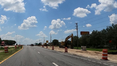 Looking west at drainage work along the north side of SR 50, east of I-75 (7/17/20 photo)