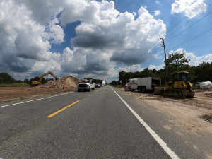 Looking south on US 301 at work for storm water pond construction (7/17/20 photo)