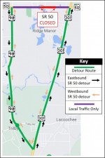 Detour map for closure of SR 50 between US 98 and US 301