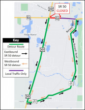 Detour map for closure of SR 50, just east of US 301