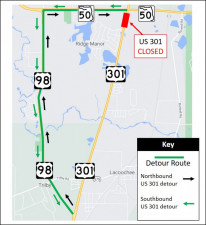 Detour map for closure of US 301, just south of SR 50