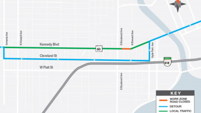 EB Kennedy Blvd Detour Map