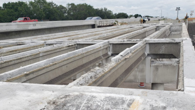 Existing NB I-75 Bridge Over Woodberry Road (ongoing demolition of concrete bridge deck) June 2020