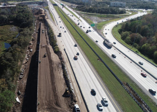 Roadway construction of new SR 60 entrance ramp onto northbound I-75 (2/3/20 photo)