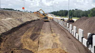 Construction of MSE wall on I-75, north of SR 60 - July 2020