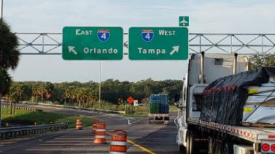 New, temporary alignment at end of new ramp at fork to eastbound or westbound I-4