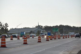 View from side of new Exit 261 after exiting through-lanes of southbound I-75