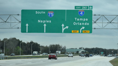 A closer look at the ramp exit point to I-4, which is over one mile north of I-4.