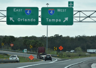 The new ramp allows traffic to flow in separate lanes to the split onto eastbound or westbound I-4.