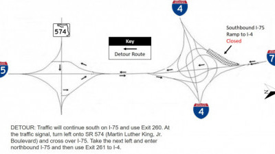 Detour map and route description for closure of southbound I-75 ramp to I-4