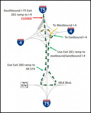 Detour Map for closure of southbound I-75 Exit 261 to I-4