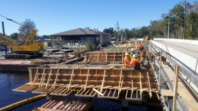 Halls River Bridge Continue Work on Bridge Piers Dec 2018
