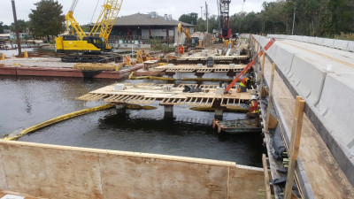 Halls River Bridge Pier Work Continues Mid Nov 2018
