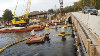 Halls River Bridge Placing Friction Collars on Piers Nov 2018