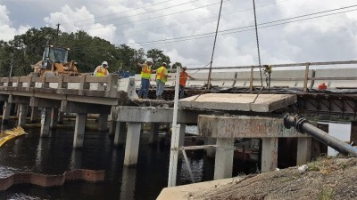 Halls River Bridge Removing Old Bridge Deck August 2018