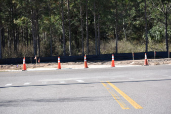 Looking west across Boyette Road where a new intersection with McKendree Road will open in February. (1/29/2021 photo)