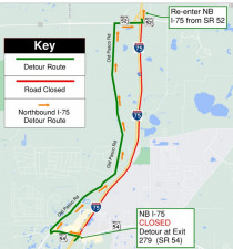 Detour map for the closure of northbound I-75 between SR 54 and SR 52