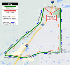 Detour map for closure of Overpass Road between Old Pasco Road and Boyette Road