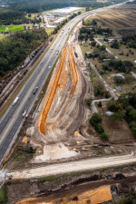 Looking south over I-75 at southbound entrance ramp construction (2/15/2021 photo)