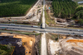 Looking east over Overpass Road and I-75. The Overpass Rd. Bridge over southbound I-75 has been removed. (2/15/2021 photo)
