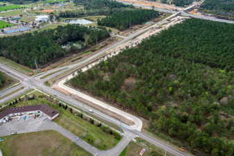 Looking southwest at the Boyette Rd. / Overpass Rd. intersection and the new McKendree Road alignment along both roads (2/15/2021 photo)