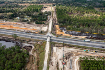 Looking west over Overpass Road and I-75. The Overpass Rd. Bridge over southbound I-75 has been removed. (2/15/2021 photo)