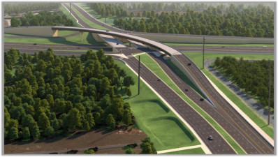 Rendering of completed project. Looking west at Overpass Road over I-75.