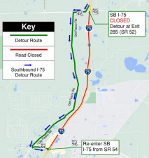 Detour map for the closure of southbound I-75 between SR 52 and SR 54