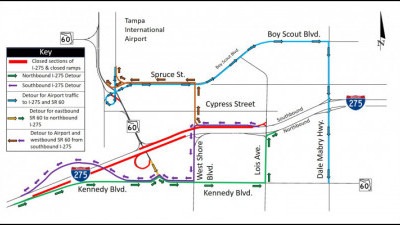 Detour Map for Closure of I-275 in Westshore area