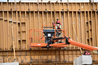 Form work for a noise barrier wall along northbound I-275 (3/16/20 photo)