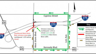 Detour map for closure of northbound West Shore Blvd.