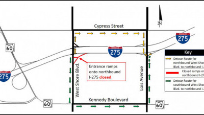 Detour map for closure of West Shore Blvd. ramps onto northbound I-275