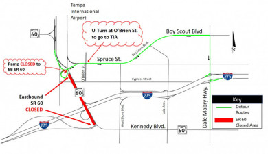 Detour route for closure of eastbound SR 60 between Tampa International Airport and I-275