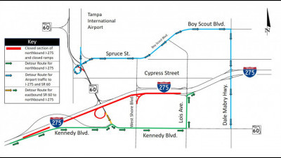 Detour map for closure of northbound I-275 between SR 60 and Lois Avenue