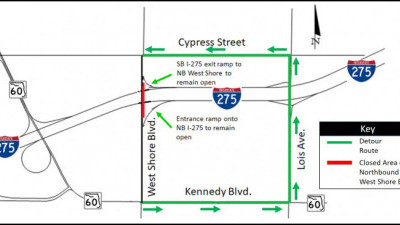 Detour Map for closure of Northbound West Shore Boulevard under I-275